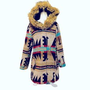 BB Dakota Southwest Print Faux Fur Hooded Coat
